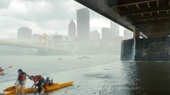 Rain Storm Hits Pittsburgh Allegheny River Kayakers Stock Footage