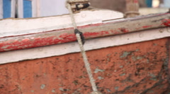 Panoramic closeup of boat fence, at river Ganges. Stock Footage