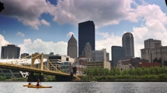 Pittsburgh Skyline with Kayakers on Allegheny River Stock Footage