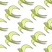 Seamless pattern of outline abstract swallow birds - stock illustration