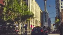 Toronto Queen West CN Tower Intersection Timelapse Wide Stock Footage