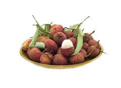 Lychee (Litchi chinensis) against white background Stock Photos