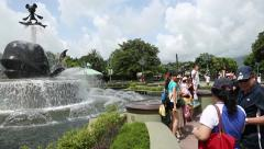 People in entertainment park Disneyland Resort, Hong Kong Stock Footage