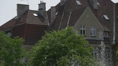 Large Two-Stored House, Red Roof, Windows in the Walls and Roof Stock Footage