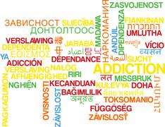 Addiction multilanguage wordcloud background concept Stock Illustration