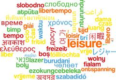 Leisure multilanguage wordcloud background concept Stock Illustration