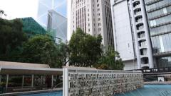 Buildings the Cheung Kong Centre and the Bank of China Tower, Hong Kong Stock Footage