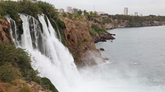 Waterfall Duden at Antalya, Turkey - nature travel background Stock Footage