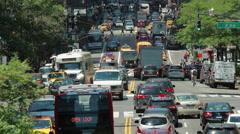 Crowd of people walking on New York City street Stock Footage