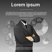 Businessman Execultive Fashion Black Suit Head Finance Infographic - stock illustration