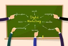 Stock Illustration of Digital Marketing Concept Hand Draw Chalk Green