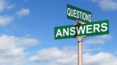 Questions, Answers Street Sign With Fluffy Moving Clouds Stock Footage