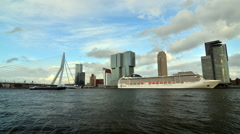 Erasmus Bridge with Rotterdam skyline. - stock footage