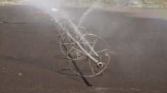 Farm irrigation sprinkler agriculture field 4K 003 Stock Footage