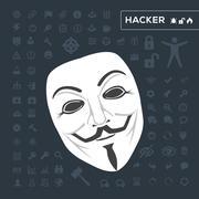 white mask anonymous - stock illustration