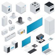 Household appliances isometric set - stock illustration