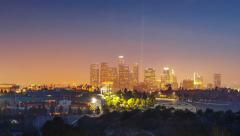 Dodgers Stadium and downtown Los Angeles skyline city.  4K UHD Timelapse. Stock Footage