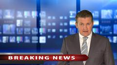 news anchor with breaking news - stock photo
