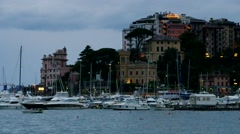 Rapallo in Italy, the harbour in the evening Stock Footage