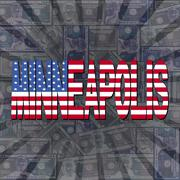 Minneapolis flag text on dollars sunburst illustration Piirros