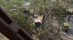 Cityscape view during slow train ride in Agra, India. Stock Footage