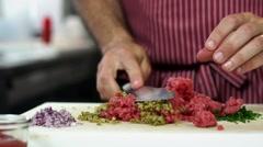 Food, Preparing meat carpaccio Stock Footage