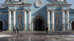 Before entering the Russian Cathedral Stock Footage