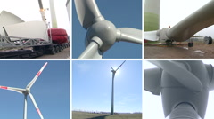 Wind turbine parts and assembly works. Clip collage. Stock Footage