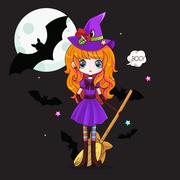 Adorable little witch. Halloween - stock illustration
