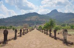 Stock Photo of Walkway of Vat Phou or Wat Phu at Pakse in Champasak, Laos