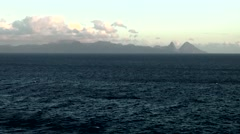 St. Lucia Castries Caribbean Sea 169 famous landmark Pitons mountains from far Stock Footage