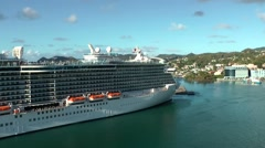 St. Lucia Castries Caribbean Sea 162 luxury cruise ship Royal Princess - stock footage