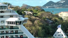 St. Lucia Castries Caribbean Sea 161 passing by luxury cruise liner on starboard Stock Footage