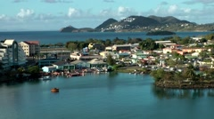 St. Lucia Castries Caribbean Sea 160 harbor and cityscape go away - stock footage