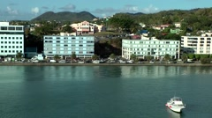 St. Lucia Caribbean Sea 158 the buildings at the coast road of port Castries - stock footage