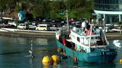 St. Lucia Castries Caribbean Sea 156 rescuing work on sunken ship in the harbor - stock footage