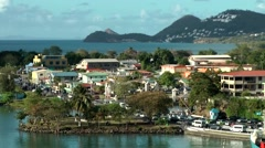 St. Lucia Caribbean Sea 154 Castries harbor side from above - stock footage