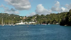 St. Lucia Caribbean Sea 149 view into Marigot Bay at the mouth Stock Footage
