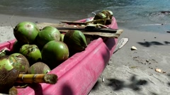 St. Lucia Caribbean Sea 122 pink paddle boat full with green coconuts Stock Footage