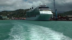 St. Lucia Castries Caribbean Sea 106 start of island boat trip from seaport Stock Footage