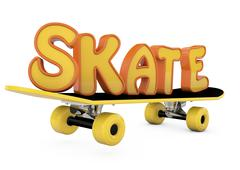 "Skateboard and word ""skate"" Stock Illustration"