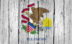 Illinois State Flag Grunge Background - stock photo