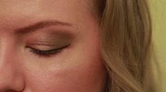 girls do beautiful makeup - stock footage