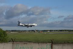 Airbus A319 of Aurora airlines at Novosibirsk Tolmachevo Airport. - stock photo