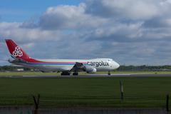 Boeing 747 Cargolux at Novosibirsk Tolmachevo Airport. - stock photo