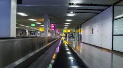 Hyperlapse on escalator on airport Stock Footage