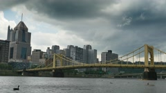 Timelapse View of Thunder Storm Approaching Pittsburgh Stock Footage