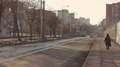 Tram rides down the street Russian City Stock Footage