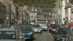 Panning down to reveal Peebles town centre, Scottish Borders Stock Footage