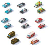 Vector isometric emergency services cars set Stock Illustration
